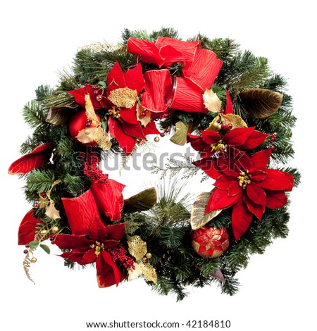 A Christmas wreath with read and gold ribbons and poinsettas on white background