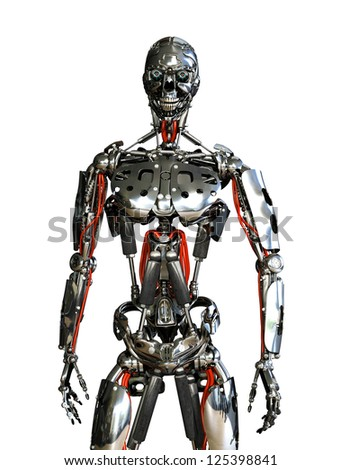 A chrome robot stands ready to do your bidding - 3D render.