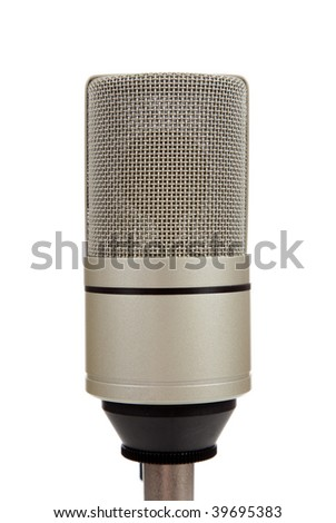 A chrome,  vintage microphone on  a mic stand on a white background