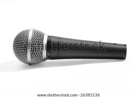 A chromed black microphone isolated on white background