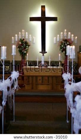 Church Wedding Decorations on Stock Photo   A Church Cross And Decorations From A Wedding