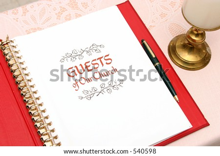 a church guest book open to the first page