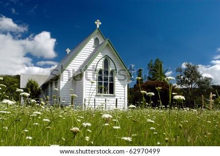 A Church in a field in New Zealand