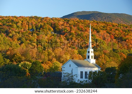 a church in autumn at stowe, vermont #232638244
