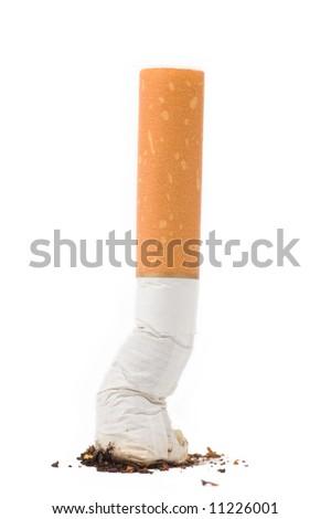 a cigarette butt on white background