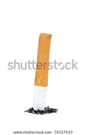 A cigarette put out in its own ashes.