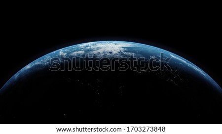 A cinematic 3d rendering-3d illustration of planet Earth rise rotation moving from night side to the illuminated daylight side with the sun rising on the planet's horizon Stockfoto ©