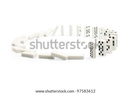 a circle of dominoes on a white background