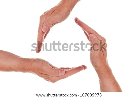 a circle of three hands