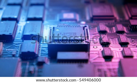 A circuit board with the electronic components.