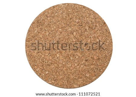 A circular cork trivet, viewed from directly above, isolated on a pure white background