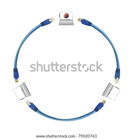 A circular diagram of the interconnectivity of mobile laptop computers using internet cable, isolated against white.