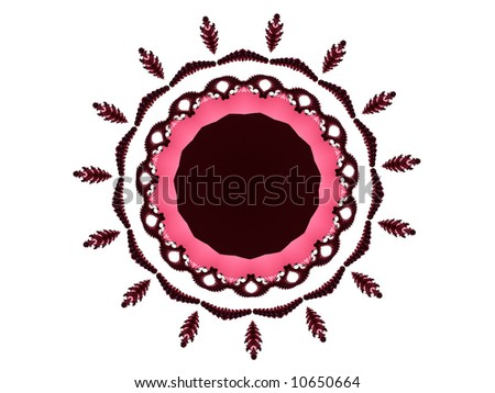 A circular frame in white, pink and black make up this fractal.