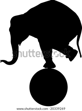 A circus elephant on a sphere