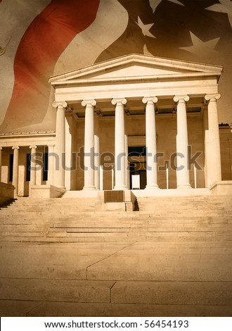 A city courthouse law building with pillar columns and stairs. An American flag is in the background. Can represent law, justice or legislation. There is a gold rustic saturation and texture. Сток-фото ©
