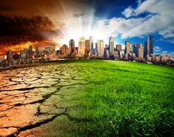 A city showing the effect of Climate Change