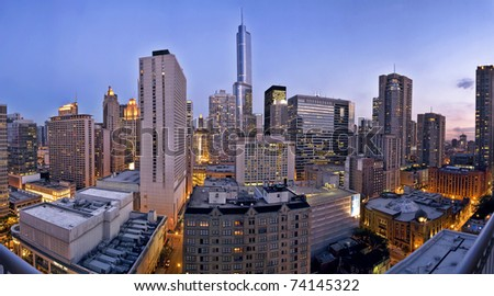 a city skyline at dusk, Chicago looking south