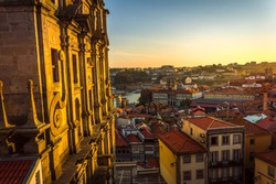 A city view of Port from Porto Cathedral at sunset, Portugal