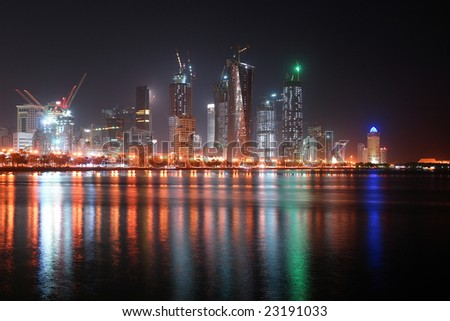 A cityscape from Doha the capital city of Qatar in the night