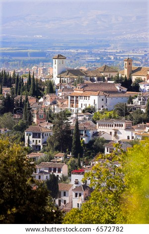 A cityscape in the South of Spain (the city of Granada) - stock photo