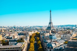 A cityscape of Paris under the sunlight and a blue sky in Fran