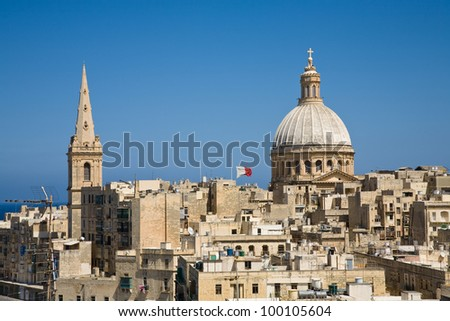 A cityscape of Valletta, the capital of Malta - stock photo