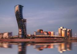A Cityscape & skyline of capital gate district Abu dhabi, UAE