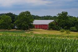 A Civil War Barnon a Cloudy Summer Day, Gettysburg National Military Park, Pennsylvania USA
