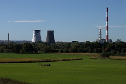 a class trip in Krakow - Laki Nowohuckie with powerplant in the background