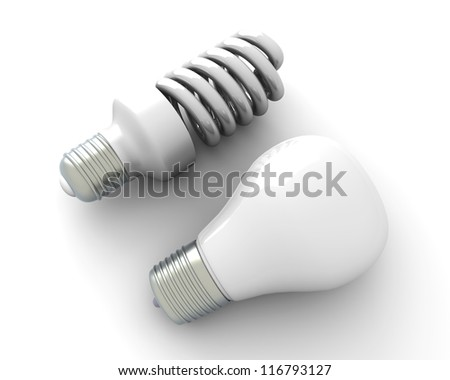 A classic and a modern energy saver light bulb. 3D rendered Illustration. Isolated on white.