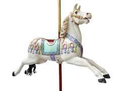 A classic carousel horse on white. Clipping path included.