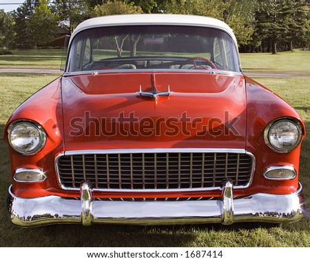 A classic - 1955 Chevy - Chevrolet - Red - Belair