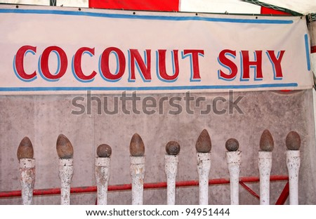 A Classic Coconut Shy Fun Fair Side Show.