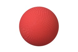 A classic dodgeball isolated on white shows the crosshatch patterns used for grips.