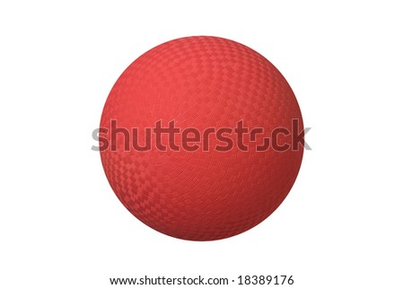 A classic dodgeball isolated on white shows the crosshatch patterns used for grips. - stock photo