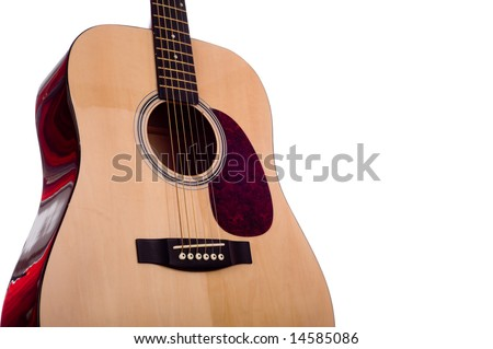 A classic dreadnought guitar on a white background