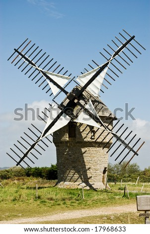 A classic French windmill on a bright summer's day