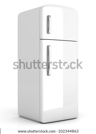 A classic Fridge. 3D rendered Illustration. Isolated on white.