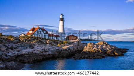A classic New England Lighthouse in late afternoon, The Portland Head Light at Portland Maine, USA #466177442