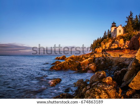 A Classic New England Lighthouse, The Bass Harbor Head Light In The First Light Of Dawn, Acadia National Park, Maine, USA #674863189