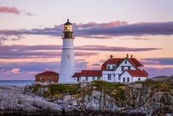A Classic New England Lighthouse, The Portland Head Light After Sunset, Portland Maine, USA