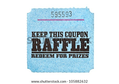 A classic raffle drawing ticket stub for prize redemption. - stock photo