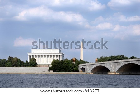 A classic Washington D.C. scene, taken from a boat on the Potomac.