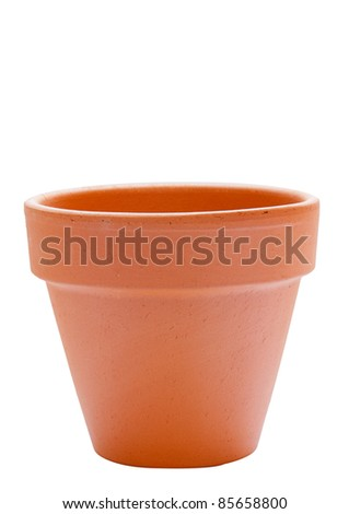 a clay garden pot on white background