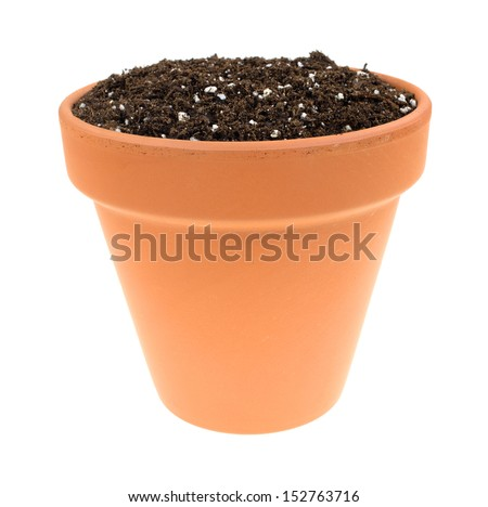 A clay pot filled with organic potting soil on a white for Clay potting soil