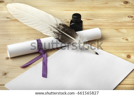 A clean of blank paper, a scroll, a goose feather, and a black ink bottle are located on a wooden table