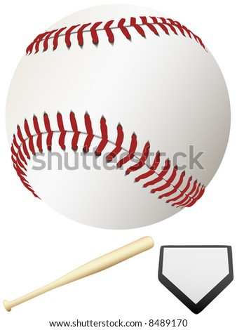 A clean, white major league baseball, ready for spring training & to throw out the first pitch of the season. Home Plate & Bat.