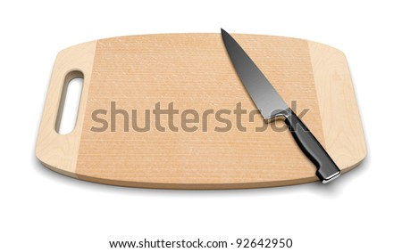 A clean wooden cutting board with a professional kitchen knife on a white background.