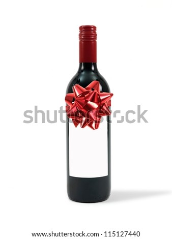 A cleanskin red wine bottle isolated against a white background