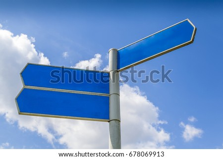 A clear directional post giving you the possibilities of adding you own signage.     #678069913